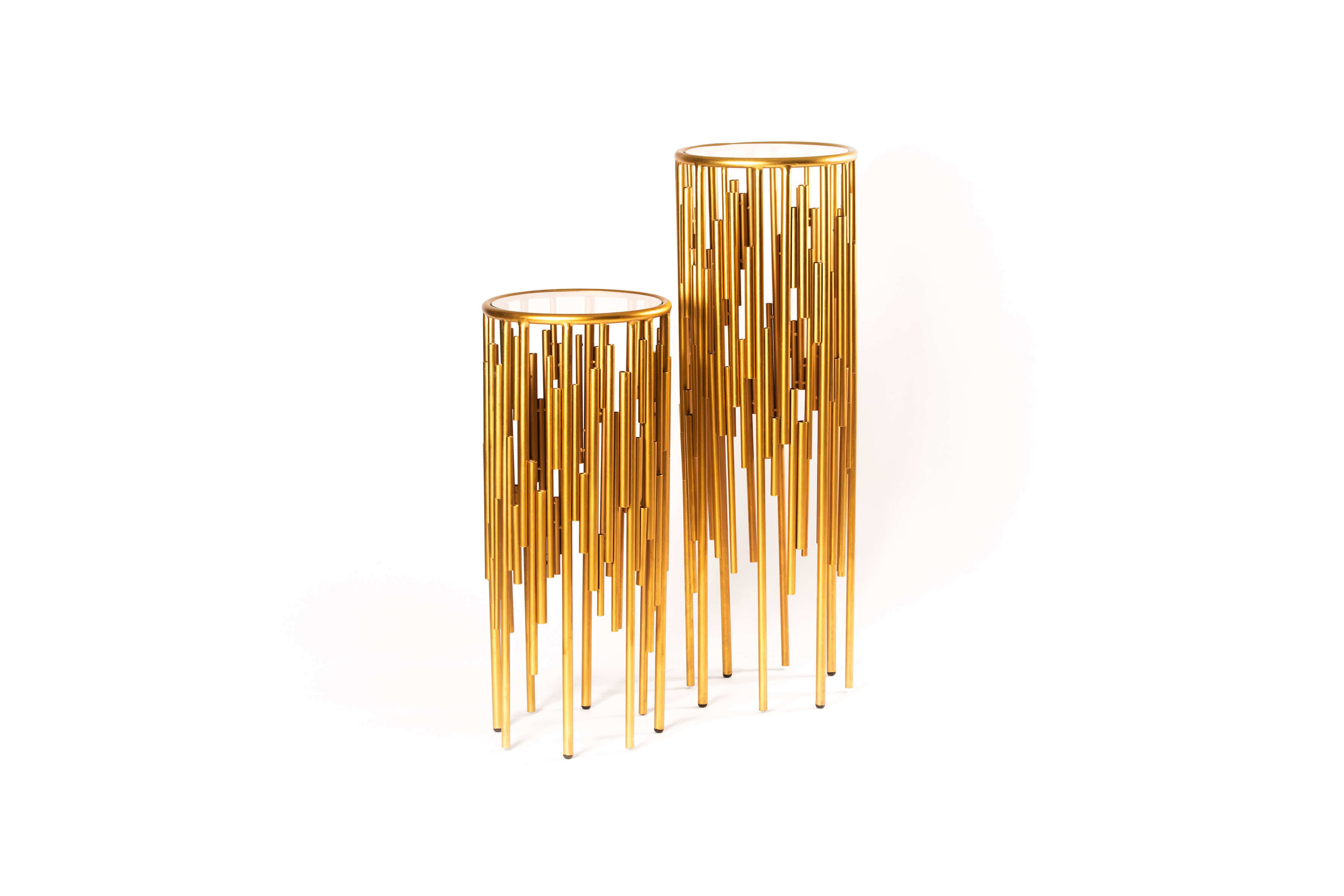 Sellettes en miroir et métal doré -TB3651