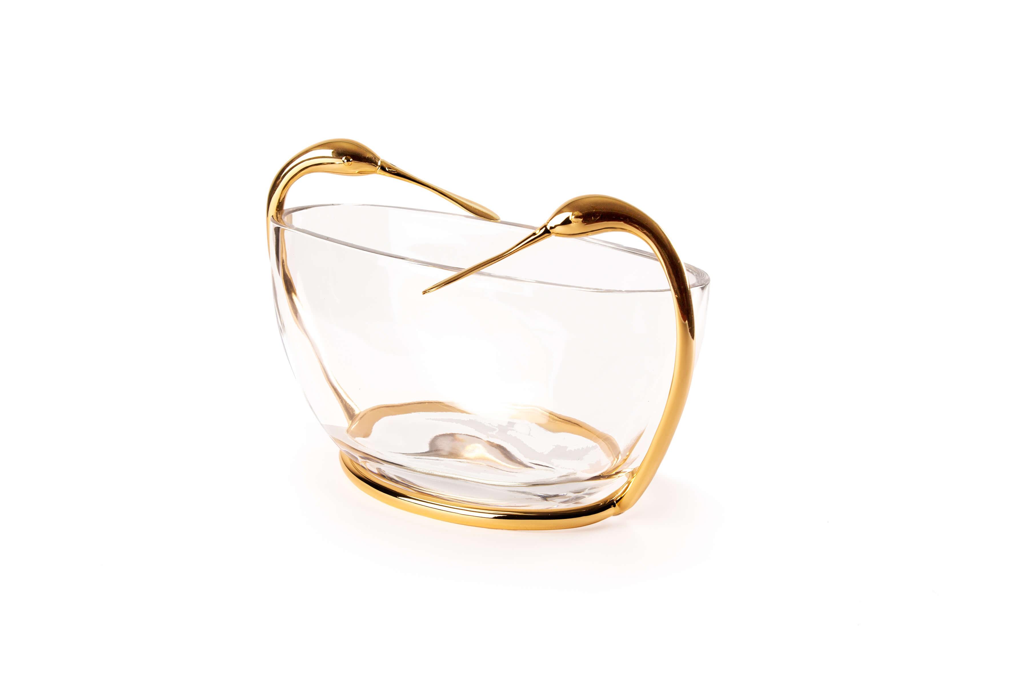 Table d'entrée ronde en verre et métal doré - TB3600-1