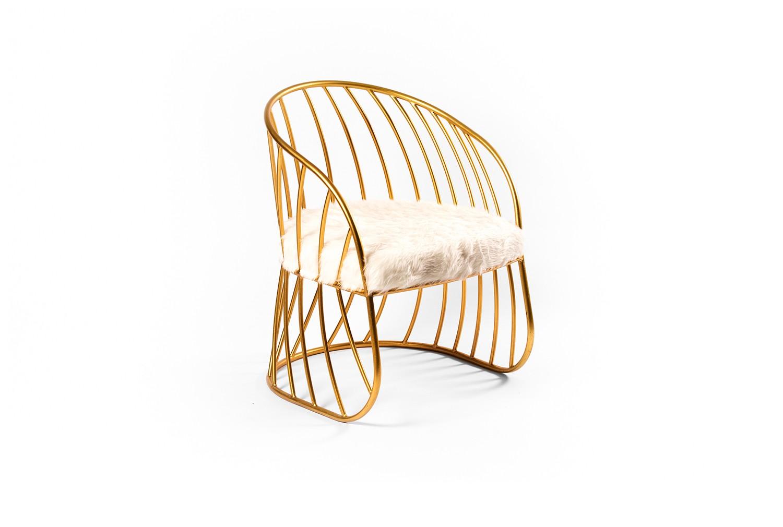 Chaise en métal doré - TB3466-1