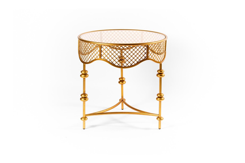 Table verre et métal doré - TB3600-1