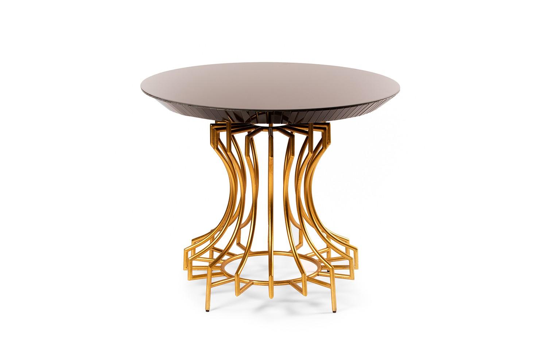 Table d'entrée ronde en verre noir et métal doré - TB3124