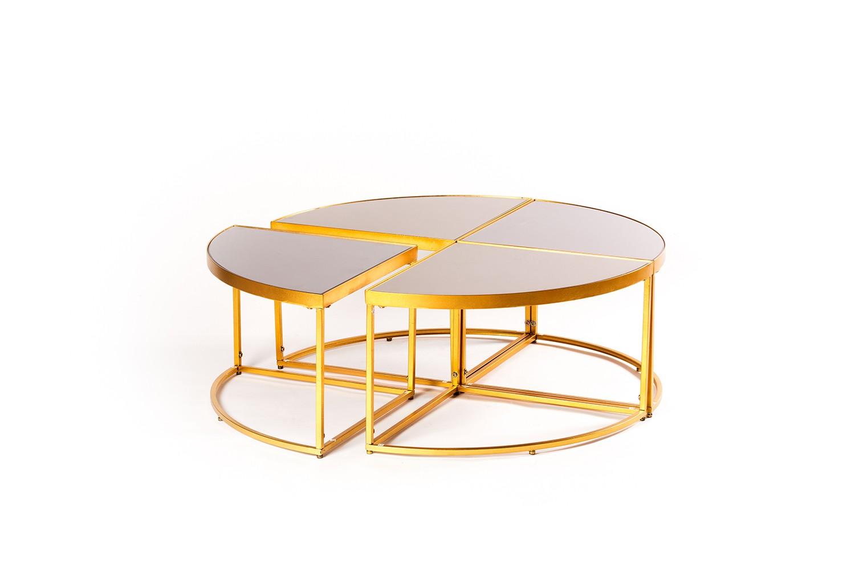 Table basse ronde en miroir et métal doré -TB3458