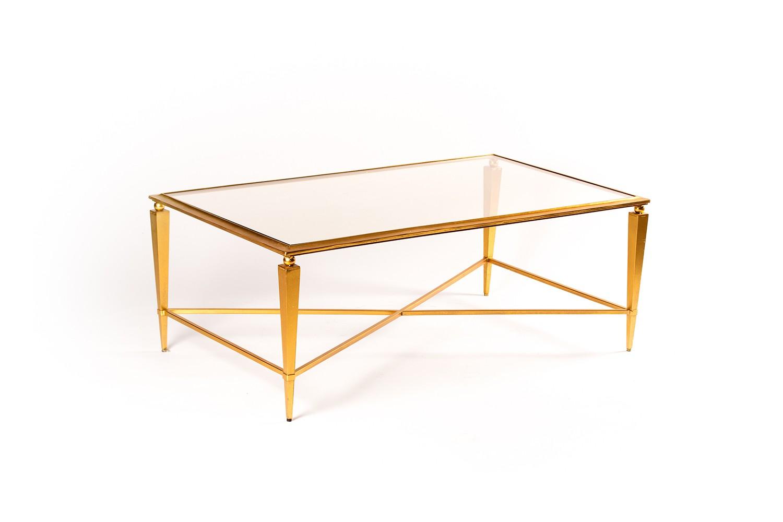 Table basse en verre et métal doré - TB3053-2