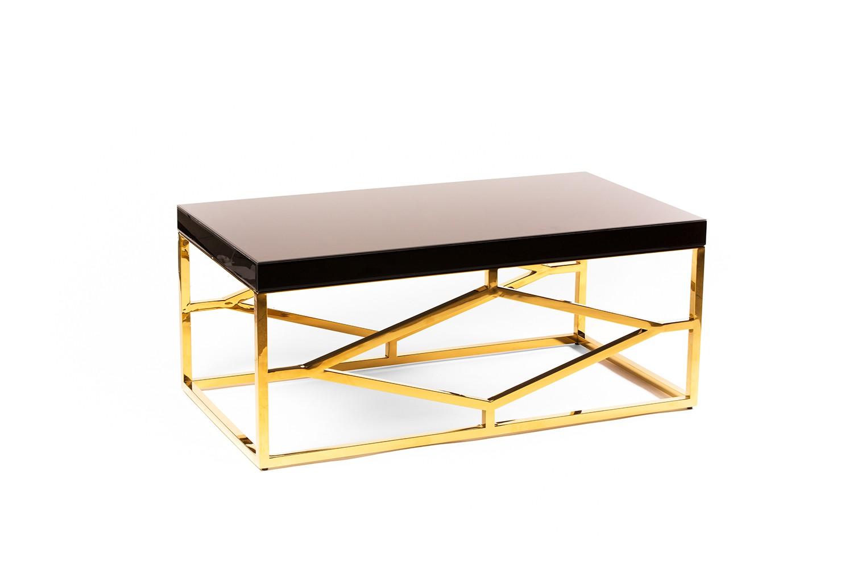 Table basse en verre noir et métal doré - TB3078-4
