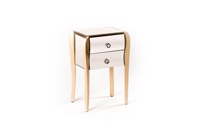 Table de chevet en bois et miroir - LD6597-1