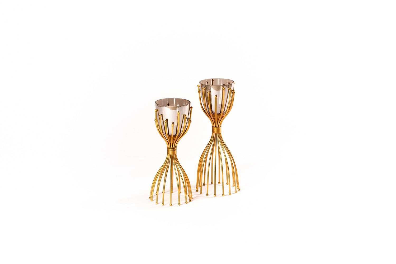 Porte bougie en verre et métal doré - LP0865